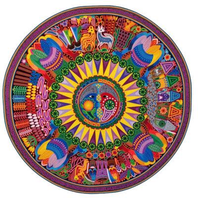 Wixárika (Huichol) Art Santos Daniel: Premier Round Huichol Yarn Painting Huichol
