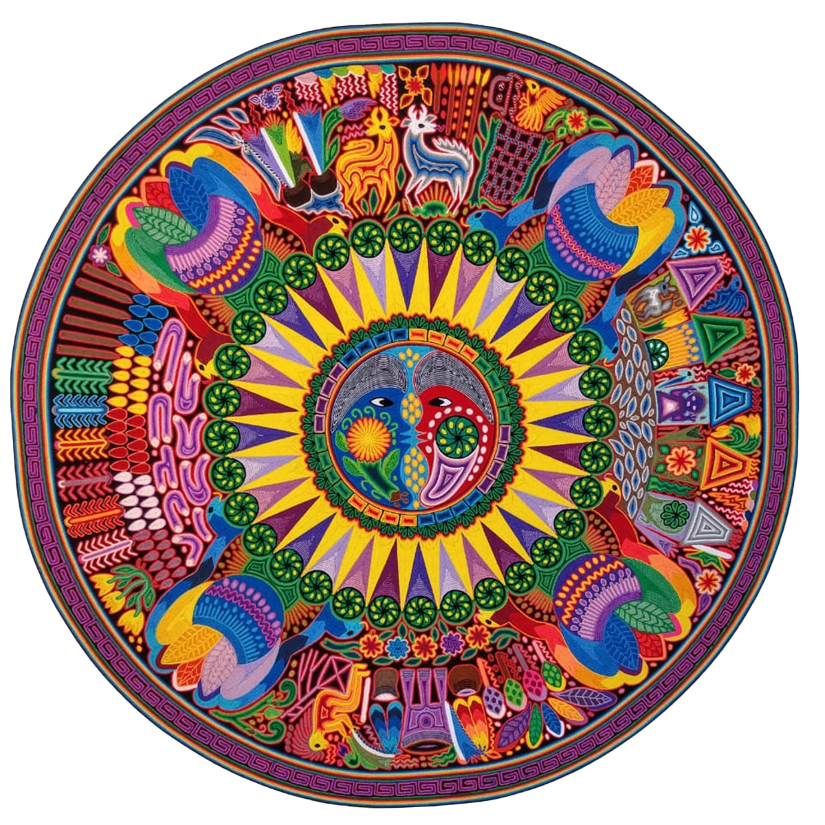 Wixárika (Huichol) Art Santos Daniel: Premier Eclipse Themed Round Huichol Yarn Painting Huichol