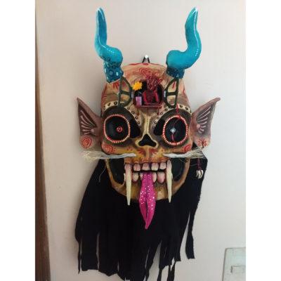 Cartoneria (Mexican Paper Mache) Isaias Alejandro Morales Delgado: Mask Entitled Melancholy/ Melancolía cartoneria