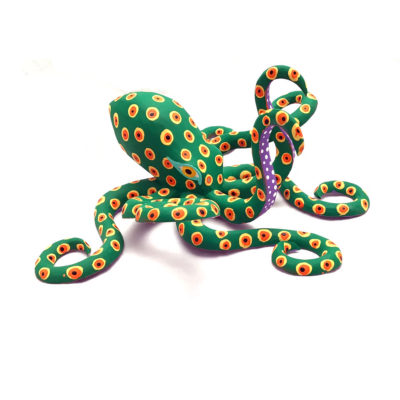Moises Jimenez & Oralia Cardenas Moises Jimenez & Oralia Cardenas: Rare Aqua Green Octopus Classic Style