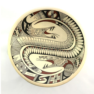 Geometric Rey and Lupe Rodriguez: Fine Plate with Snakes Mata Ortiz Pottery