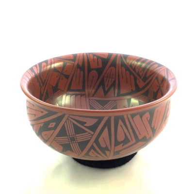 Mata Ortiz Pottery, Chihuahua Baudel Lopez: Decorated Inside and Out Red Bowl Bowl