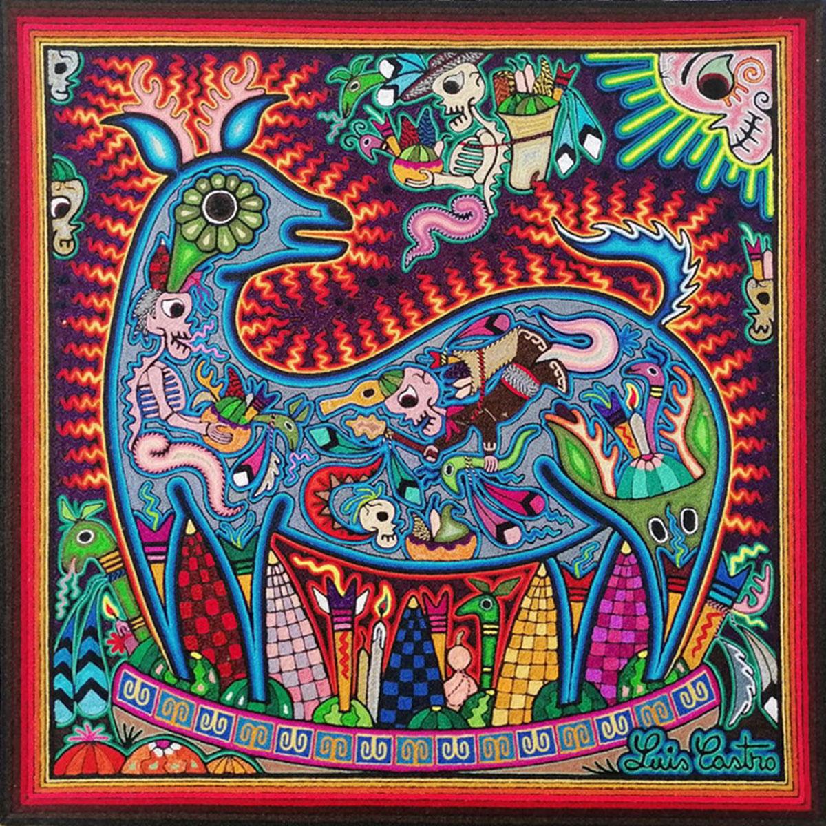 Wixárika (Huichol) Art Luis Castro: Premier Huichol Blue Deer Yarn Painting Day of the Dead