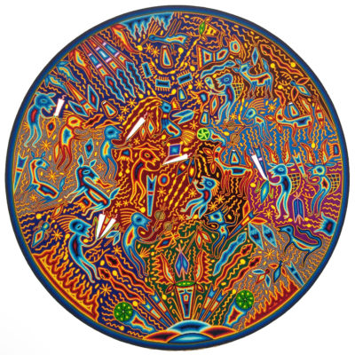 Wixárika (Huichol) Art Efrain Rios: 46″ Premier Round Huichol Yarn Painting Direct from Mexico Huichol
