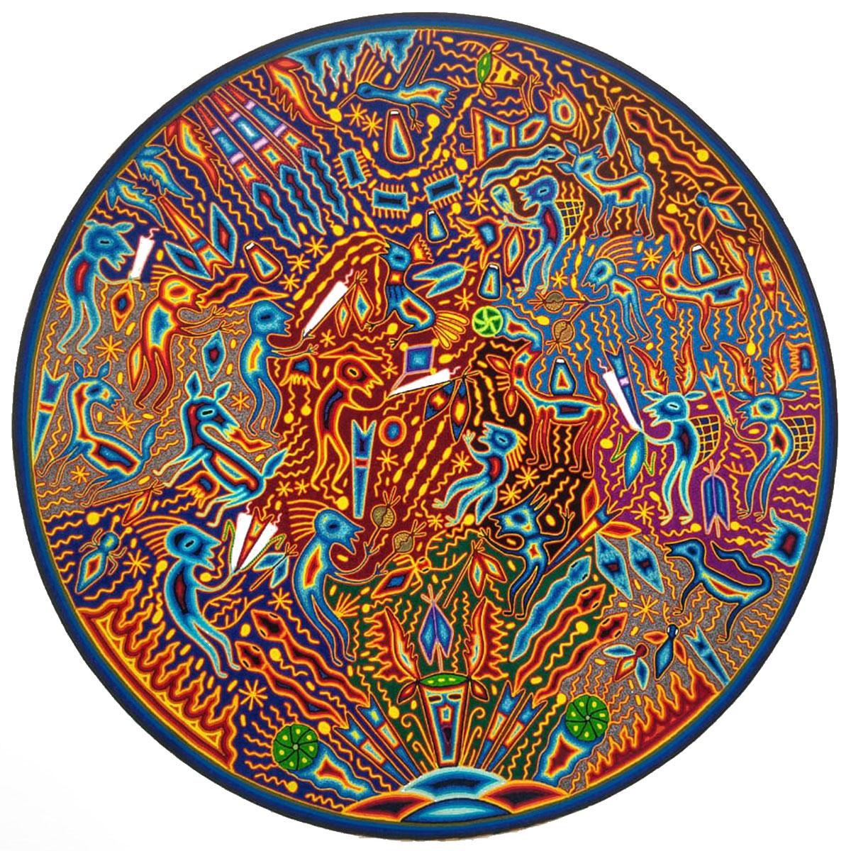 Wixárika (Huichol) Art Efrain Rios: 46″ Premier Round Huichol Yarn Painting Direct from Mexico Huichol