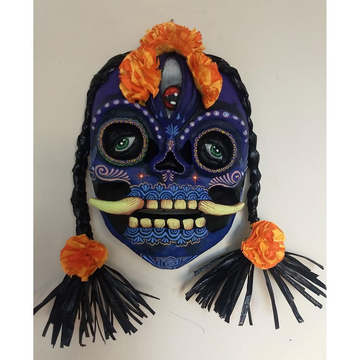 Cartoneria (Mexican Paper Mache) Isaias Alejandro Morales Delgado: Muerte Azul (Blue Death) Mask cartoneria