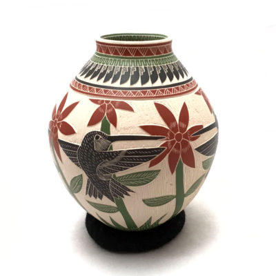 Fish Martín Olivas Quintana:  Small Pot with Hummingbirds Birds