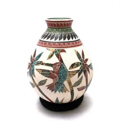 Fish Martín Olivas Quintana:  Small Pot with Multi-colored Hummingbirds Birds