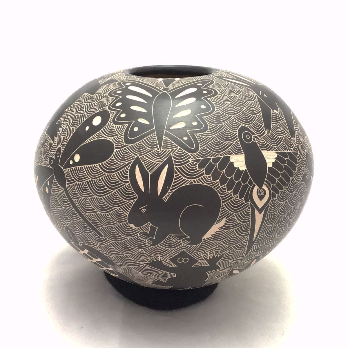 Lila Silveira Lila Silveira and Alex Ortega: Black Pot with Insects and Animals Birds