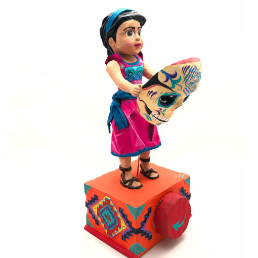 Cartoneria (Mexican Paper Mache) Josue Eleazar Castro: Girl with Mask cartoneria