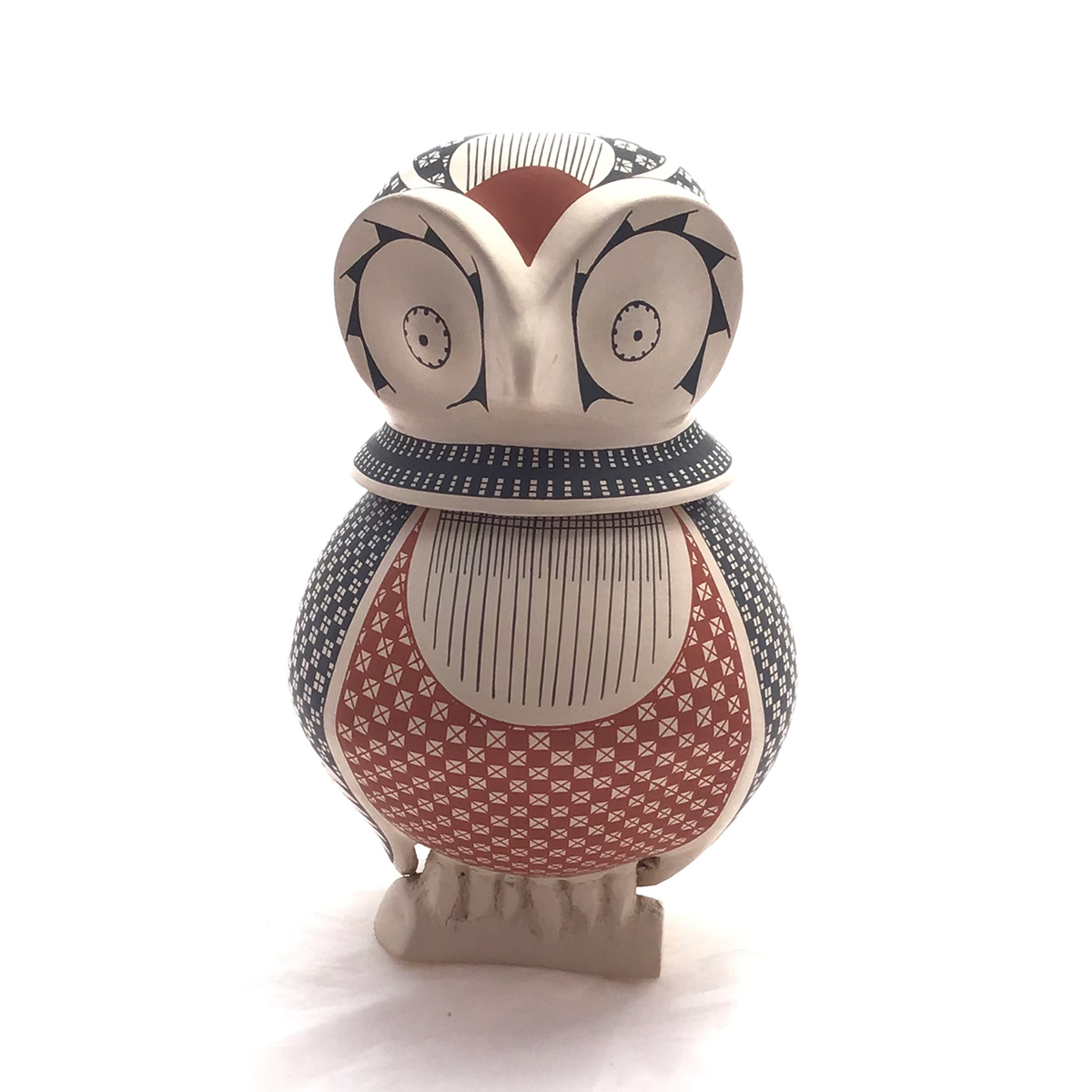 Manuel Molina Manuel Molina: Small Owl Effigy with Removable Head as Lid Birds