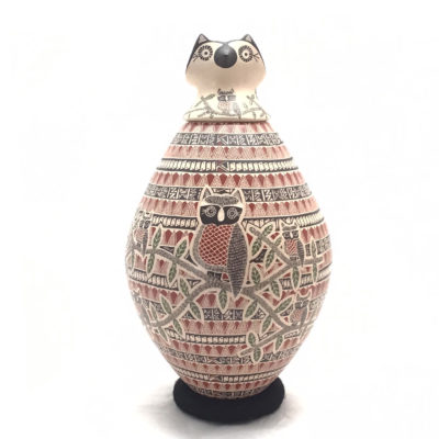 Angela Corona Angela Corona and Oscar Rivera: Large Beautiful Owl Pot Birds