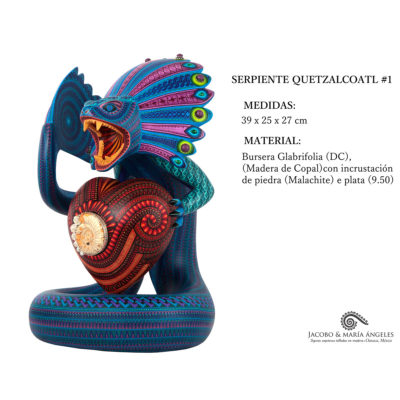 Jacobo and Maria Angeles Jacobo and Maria Angeles Workshop: Museum Quality Quetzalcoatl Serpent with Fossil and Malachite Silver Inlay
