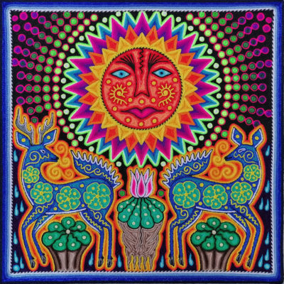 Wixárika (Huichol) Art Jose Luis Castro 12 x 12: Premier Huichol Yarn Painting Direct from Mexico Huichol