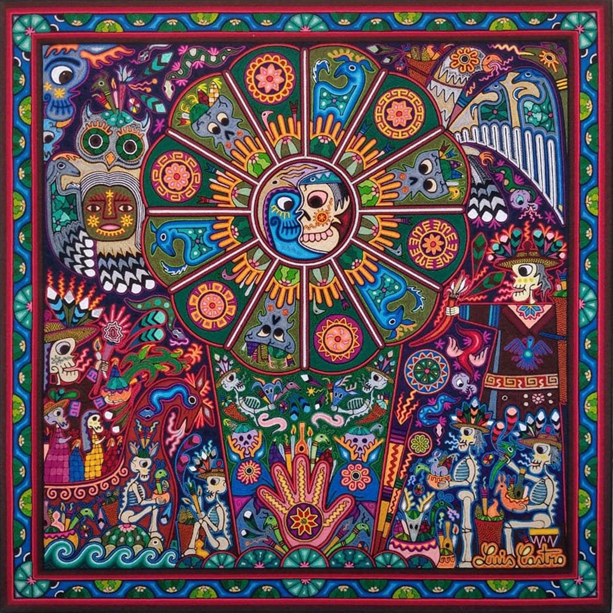 Wixárika (Huichol) Art Luis Castro: Premier Huichol Yarn Painting Direct from Mexico Huichol