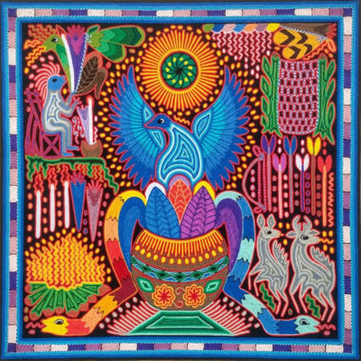 Wixárika (Huichol) Art Santos Daniel: Premier Huichol Yarn Painting Direct from Mexico Huichol