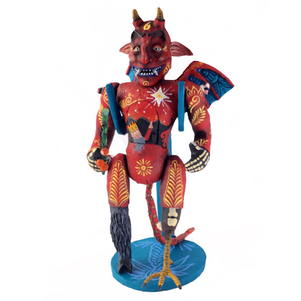 Cartoneria (Mexican Paper Mache) Isaias Alejandro Morales Delgado: Devil Doll with Stand cartoneria
