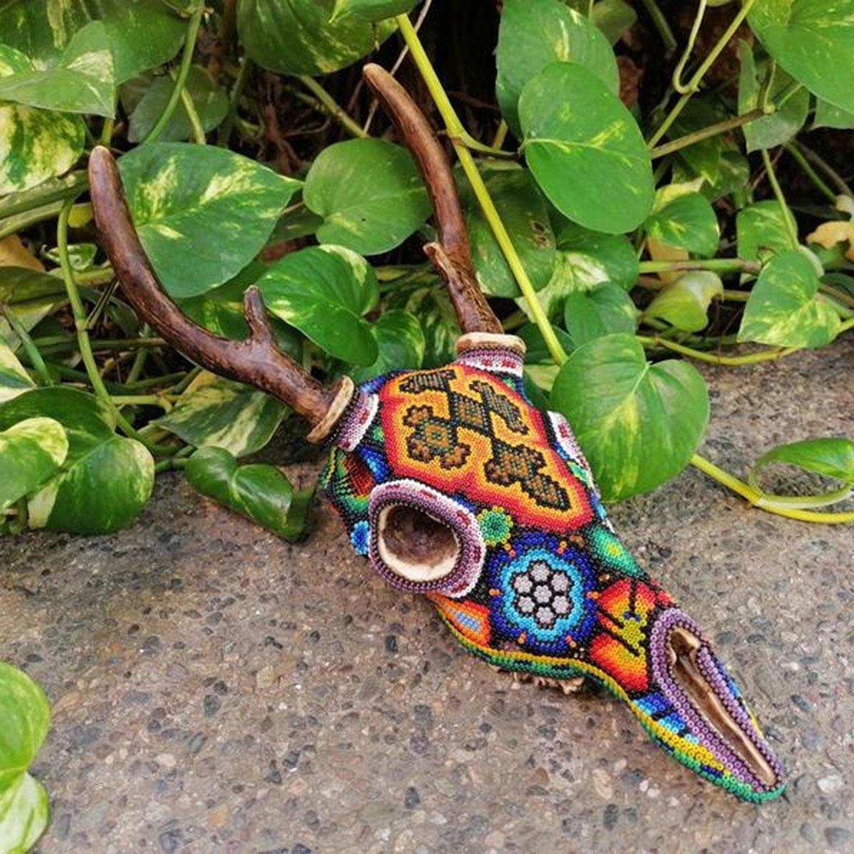 Wixárika (Huichol) Art Huichol Beaded Deer Skull Beaded