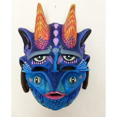 """Cartoneria (Mexican Paper Mache) Isaias Alejandro Morales Delgado: Handmade Wearable Mask – """"El No Triste""""  Mr. Not Sad cartoneria"""