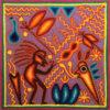 Wixárika (Huichol) Art Rogelio Torres 12″ Huichol Yarn Painting: Grandmother of Life with Burro Yarn Art