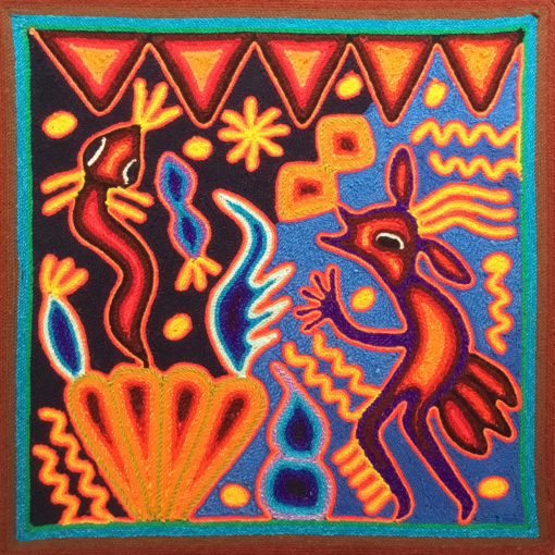 Wixárika (Huichol) Art Rogelio Torres 12″ Huichol Yarn Painting: Snake Messenger Yarn Art