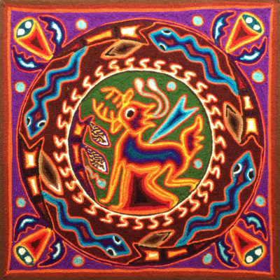 Wixárika (Huichol) Art Rogelio Torres 12″ Huichol Yarn Painting: Hunt of the Deer God Yarn Art