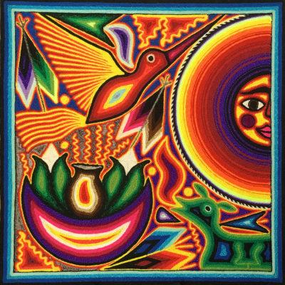 Wixárika (Huichol) Art Rogelio Torres 12″ Huichol Yarn Painting: Sun and Hummingbird Birds