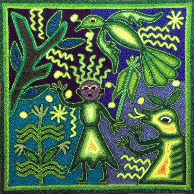 Wixárika (Huichol) Art Rogelio Torres 12″ Huichol Yarn Painting: Corn Offering and Eagle Protector Yarn Art