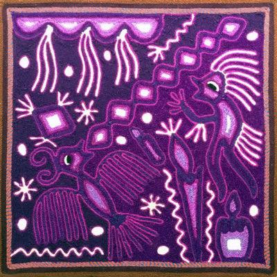 Wixárika (Huichol) Art Rogelio Torres 12″ Huichol Yarn Painting: Curandero Sending Hummingbird to the Water God Yarn Art