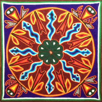 Wixárika (Huichol) Art Rogelio Torres 12″ Huichol Yarn Painting: Messenger Snakes Sent to Protect the Planting of Corn and Peyote Yarn Art
