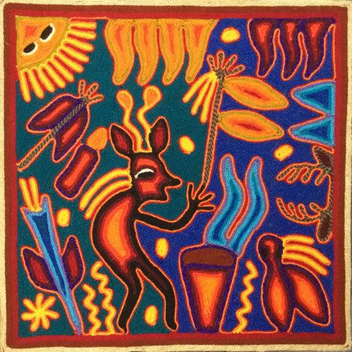 Wixárika (Huichol) Art Rogelio Torres 12″ Huichol Yarn Painting: Peyote Blessing Yarn Art