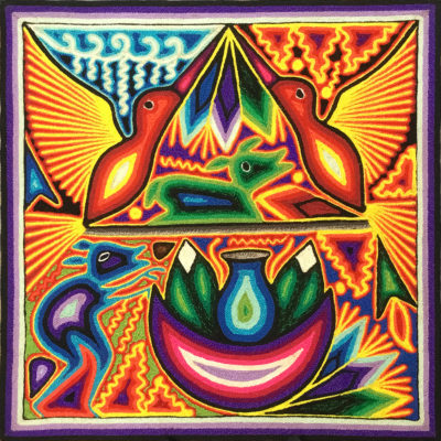 Wixárika (Huichol) Art Iris Bautista Cervantes 12″ Huichol Yarn Painting: Hummingbirds Sent to the Water Gods / Gourd Offerings / Feathers to Heal the Sick Birds