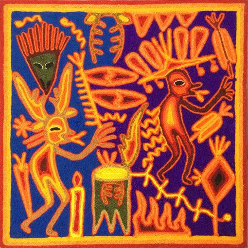 Wixárika (Huichol) Art Rogelio Torres 12″ Huichol Yarn Painting: Drum Dance and Shaman Healer Yarn Art
