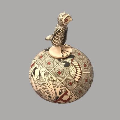 Blanca Quezada Blanca Quezada: Small Geometric Pot with Owl Lid Bowl