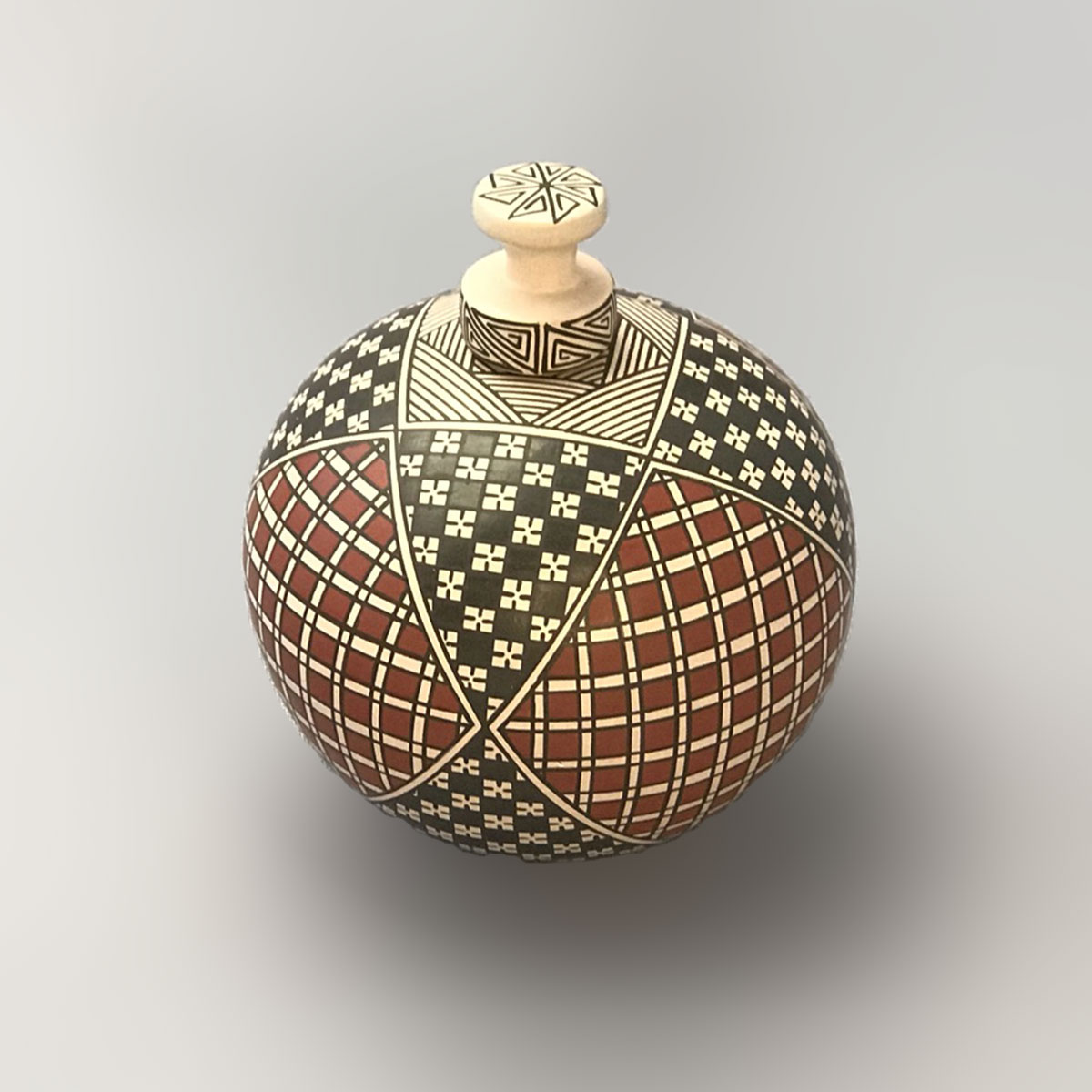 Blanca Quezada Blanca Quezada: Small Geometric Lidded Pot Geometric