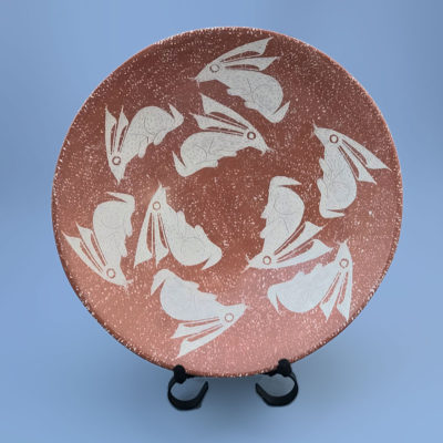 Roberto Banuelos Roberto Bañuelos: Mid-sized Paquimé Style Plate with Rabbits Mata Ortiz Pottery