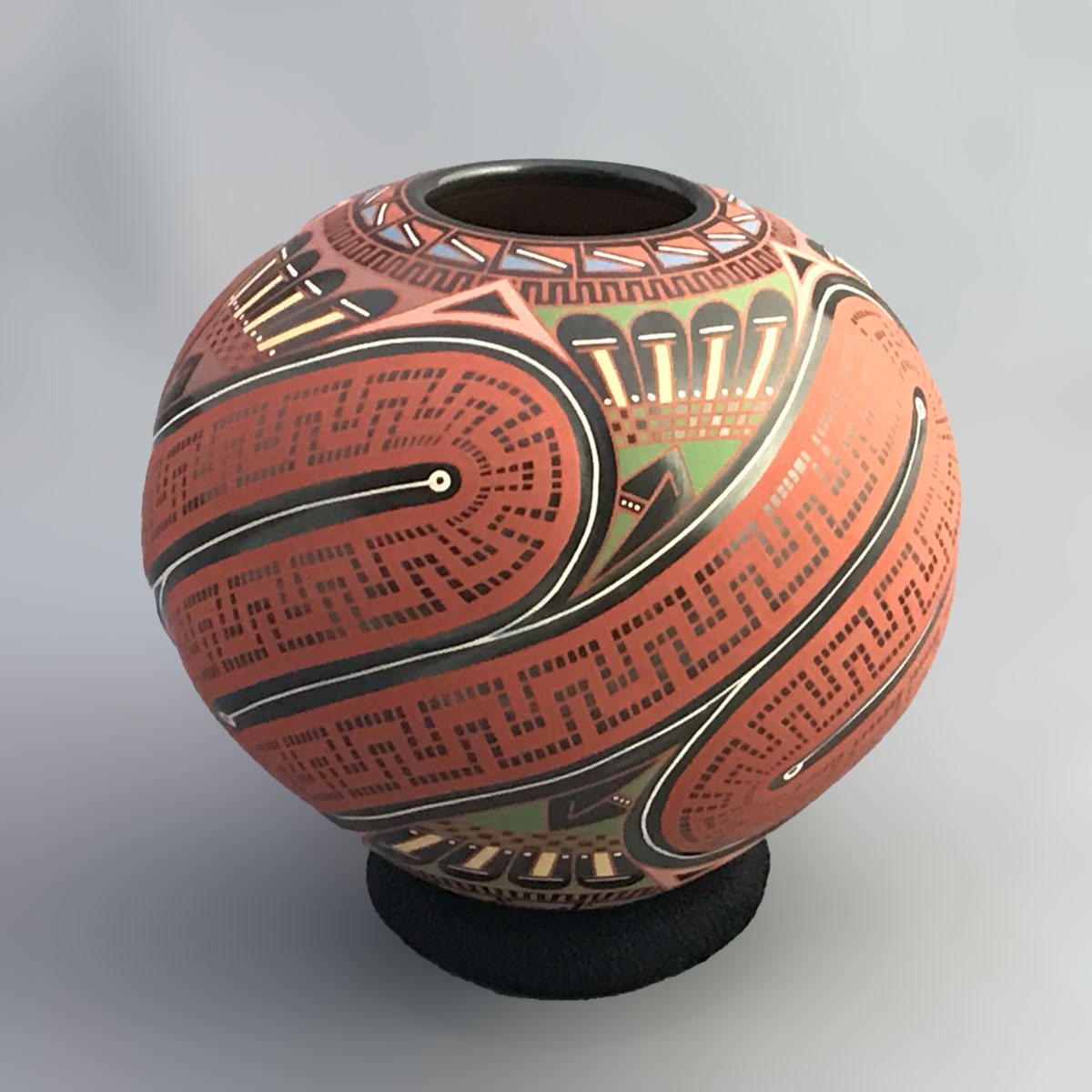 Cesar Dominguez Nunez Cesar Dominguez Nuñez: Red Geometric Melon Pot Mata Ortiz Pottery