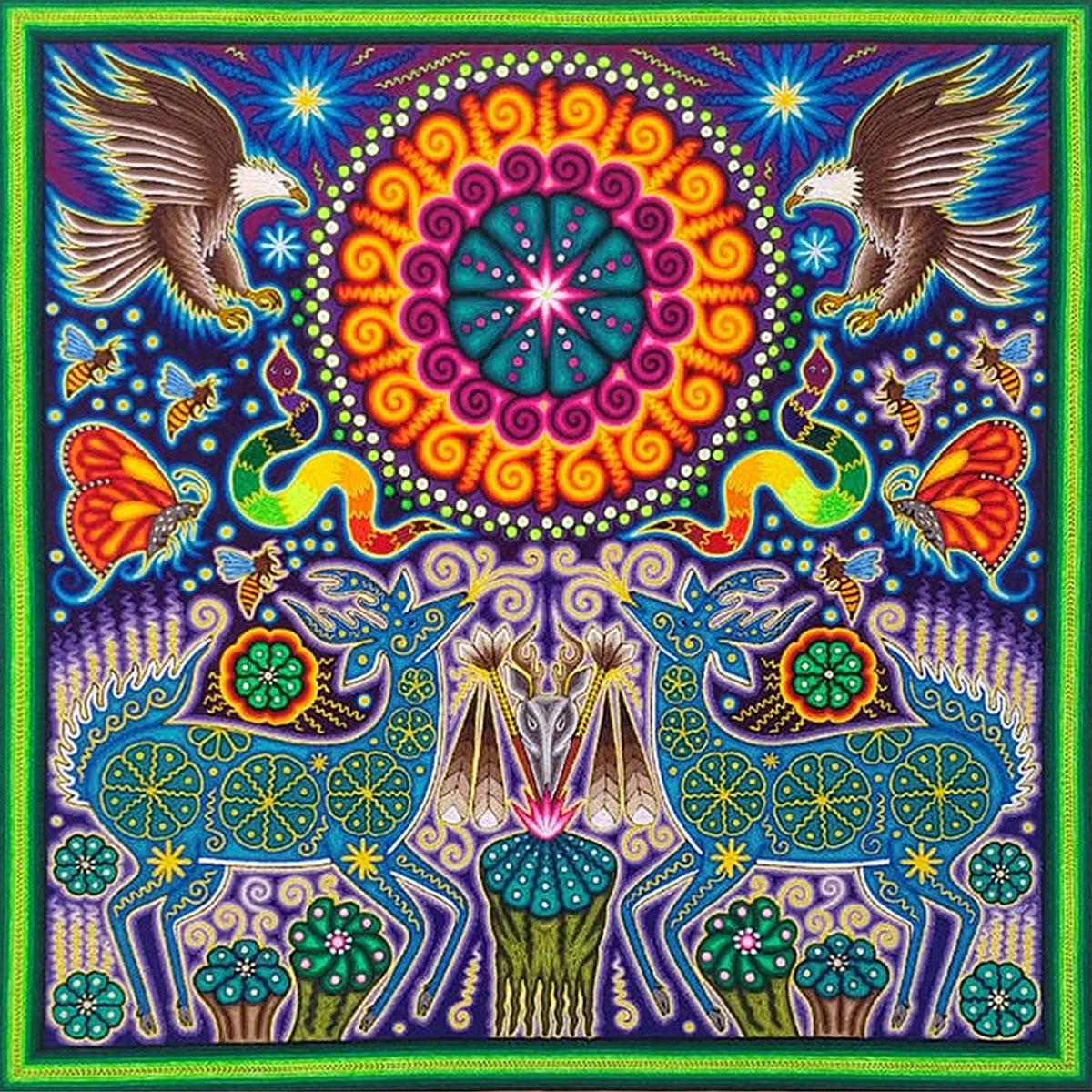Wixárika (Huichol) Art Jose Luis Castro 24×24: Premier Huichol Yarn Painting Direct from Mexico Huichol