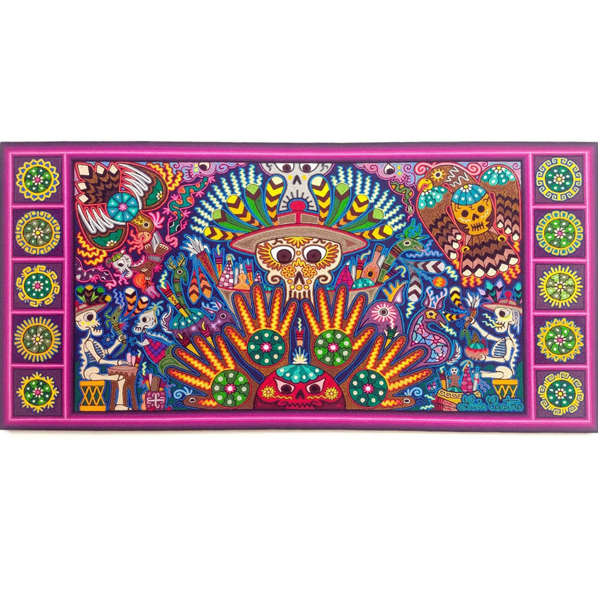 Wixárika (Huichol) Art Luis Castro 24×48: Premier Huichol Yarn Painting Direct from Mexico Huichol