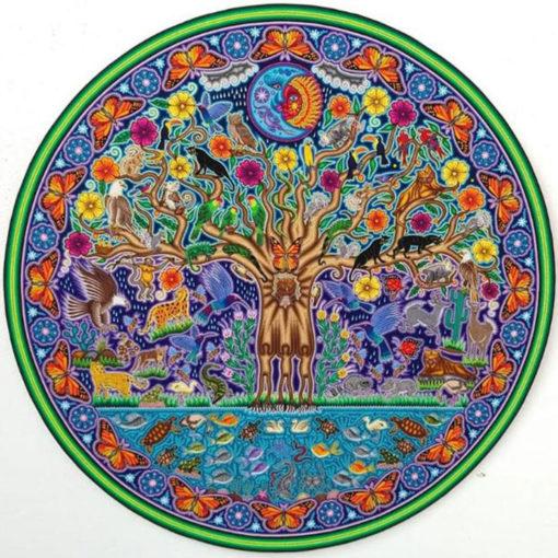Wixárika (Huichol) Art Jose Luis Castro: Premier Tree of Life Huichol Yarn Painting Direct from Mexico Huichol