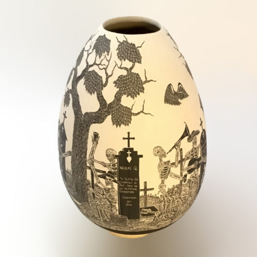 Day of the Dead, sgraffito Javier Martinez: Large Day of the Dead Pot Day of the Dead