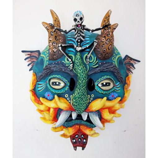 """Cartoneria (Mexican Paper Mache) Isaias Alejandro Morales Delgado: Handmade Wearable Devil Mask – """"Enemy"""" Alebrijes"""