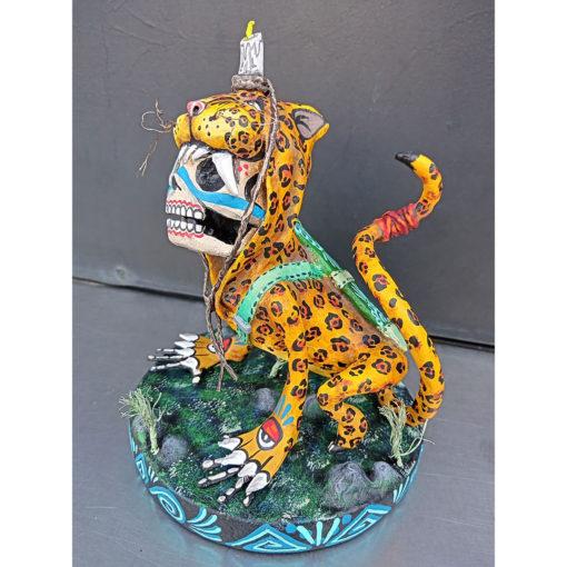 Cartoneria (Mexican Paper Mache) Isaias Alejandro Morales Delgado: Tecuán Jaguar Figure Alebrijes