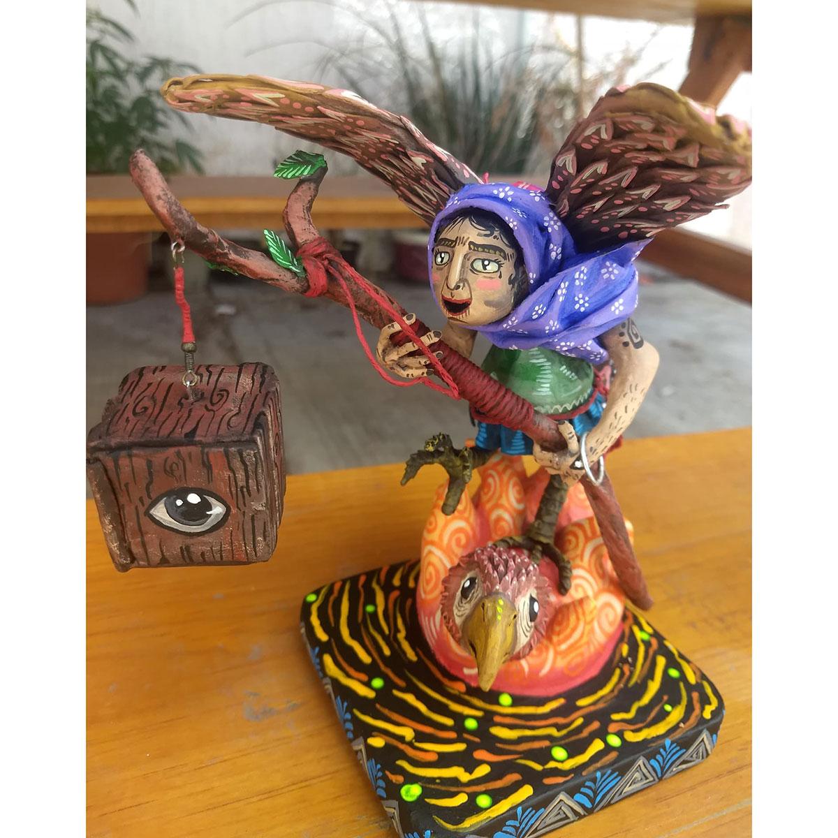 Cartoneria (Mexican Paper Mache) Isaias Alejandro Morales Delgado: La Bruja de Nativitas – The Witch of Nativitas Alebrijes