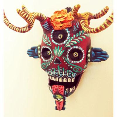 Cartoneria (Mexican Paper Mache) Isaias Alejandro Morales Delgado: Mictlán Mini Mask with Stand Alebrijes