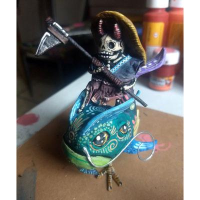Cartoneria (Mexican Paper Mache) Isaias Alejandro Morales Delgado: Miniature Fish Rider Alebrijes