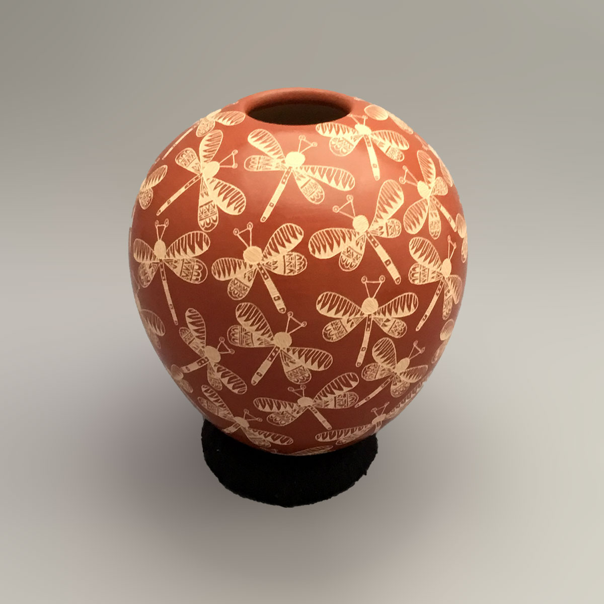 Paula Gallegos Bugarini Paula Gallegos Bugarini: Small Fine Red Seed Pot with Dragonflies Geometric