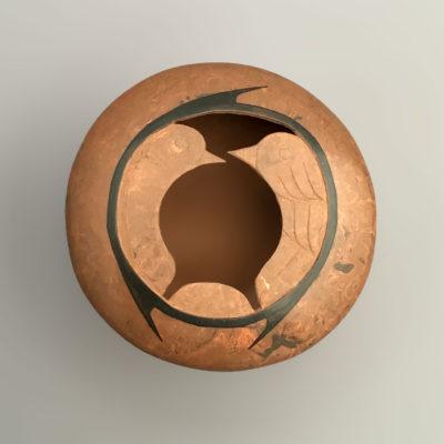 Salvador Baca & Virginia Lazoya Salvador Baca & Virginia Lazoya: Small Etched Pot – Love Birds Mata Ortiz Pottery