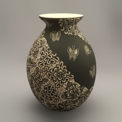 Egg Javier Martinez: Etched Medium Floral and Butterfly Design Pot butterflies