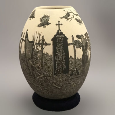Egg Javier Martinez: Medium Etched Etched Day of the Dead / Día de los Muertos Day of the Dead